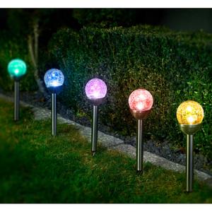 """I-Glow XXL-LED-Solarkugel """"Crashglas"""" 4er-Set"""
