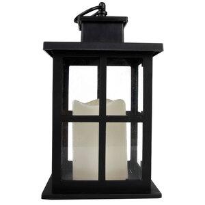 Laterne mit LED-Kerze (24 cm, schwarz)