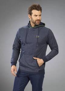 Sweatshirt mit Kapuze und Kängurutasche,Farbe blau/melange