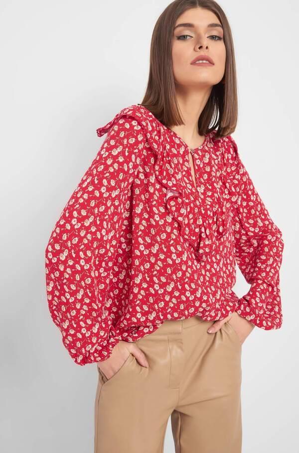 Blumen-Bluse mit Rüschen