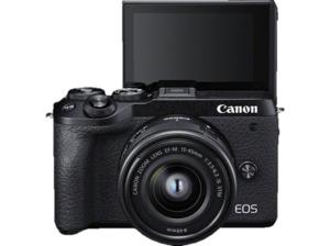 CANON EOS M6 Mark II + EF-M 15-45 IS STM Systemkamera 32.5 Megapixel mit Objektiv 15-45 mm , 7.5 cm Display   Touchscreen, WLAN