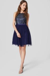 C&A Fit & Flare Kleid-Glanz-Effekt-festlich, Blau, Größe: 46