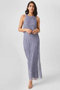 C&A Column Kleid-Glanz-Effekt-festlich, Grau, Größe: 44