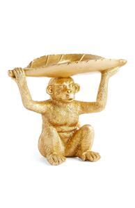 Affen-Teelichthalter in Gold