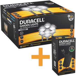 Duracell LED Niedervolt Gartenlampen 4er-Set inkl. Netzadapter, schwarz silber mix