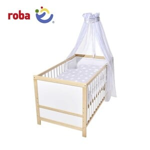 Kombi-Kinder-Holzbett in weiß oder Bi-Color, inkl. Matratze, 3-teiliger Bettwäsche, Himmel und Himmelstange, zum Juniorbett umbaubar, Maße: ca. 70 x 140 cm,
