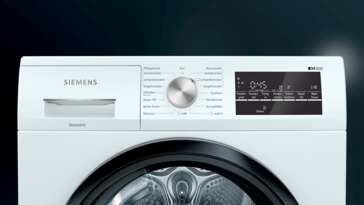 Bild 3 von SIEMENS WT47R4EX1 Wärmepumpentrockner (A+++, LED-Display, autoDry, outdoor, 8 kg, Restzeit-Anzeige, Endezeit-Vorwahl, Startzeit-Vorwahl, Wolle)