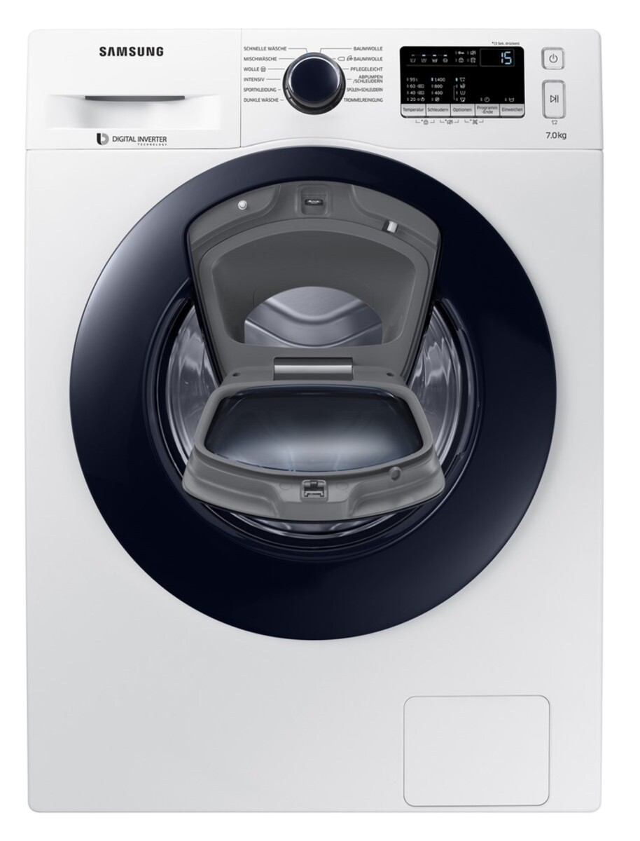 Bild 1 von Samsung Waschmaschine WW4500 WW70K44205W/EG (Energieeffizienzklasse A+++, 7 kg, 1.400 U/min, Diamond Pflegetrommel, Smart Check, weiß, Frontlader)