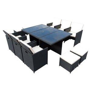 Outsunny Polyrattan Sitzgruppe als 27-tlg. Set schwarz/cremeweiß