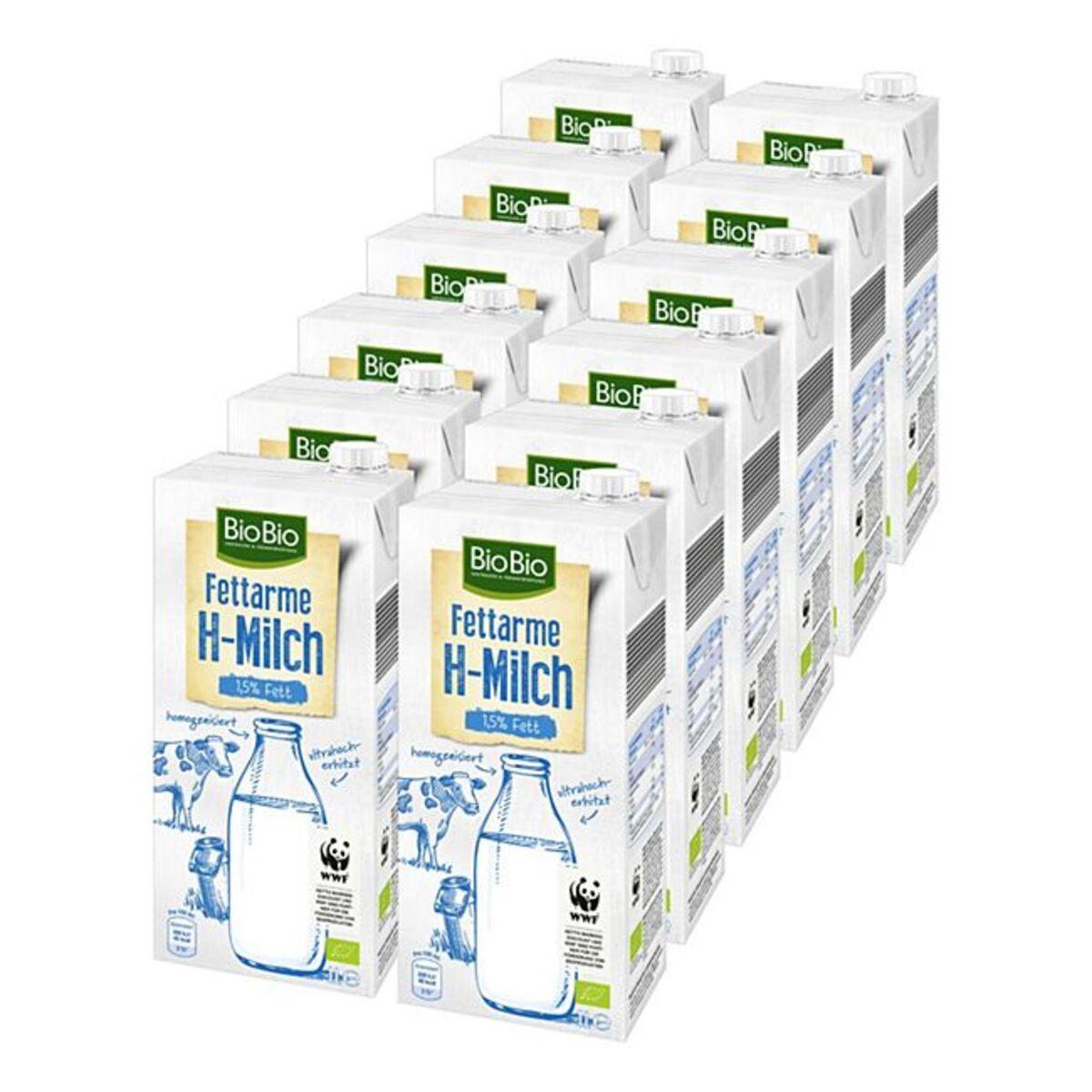 Bild 1 von BioBio H-Milch 1,5 % 1 Liter, 12er Pack