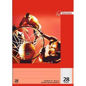 Schulhefte A 4, 10er Set - kariert Motiv Basketball