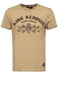King Kerosin Herren T-shirt mit Oilwash-Effekt und Frontprint Kk Original