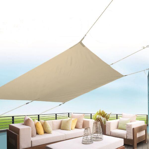 Sonnensegel Rechteckig 300x200cm Natur, 100% Polyester, Gewicht: ca. 1,80kg