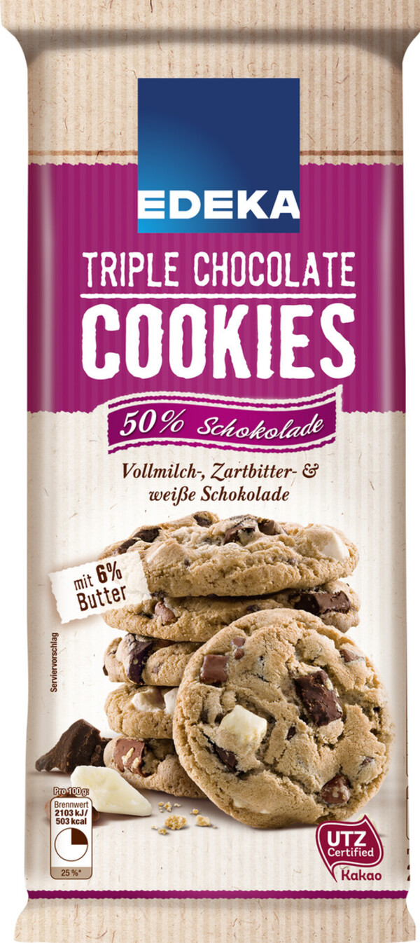 EDEKA Triple Chocolate Cookies 200 g