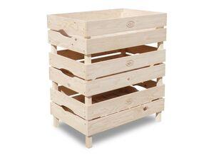 HABAU Obst- und Gemüsekiste, Holzkisten im 3er-Set, stapelbar, naturbelassen