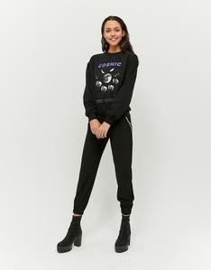 Schwarzes Sweatshirt mit Aufdruck