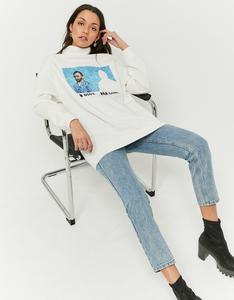 Schwarzes langes Sweatshirt mit Aufdruck