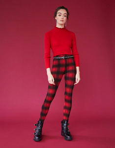 Rote, Karierte Leggings