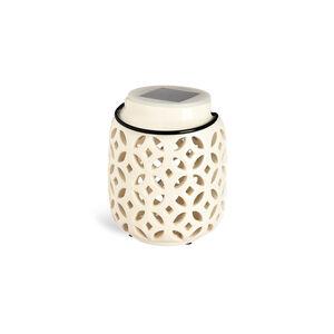 Solarleuchte Keramik, H:12cm, weiß