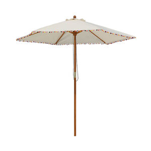 Sonnenschirm mit Pompons, D:2,5m x H:3m, natur