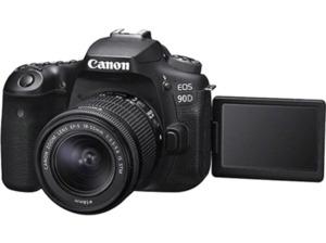 CANON EOS 90D Kit Spiegelreflexkamera, 32.5 Megapixel, 4K, Full-HD, HD, 18-55mm Objektiv (EF-S, IS II, STM), Touchscreen Display, WLAN, Schwarz