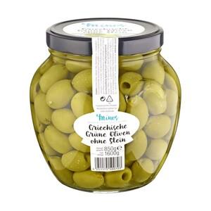 Minos griechische grüne Oliven ohne Stein XXL Glas jedes 1600-g-Glas/ 850 g Abtropfgewicht