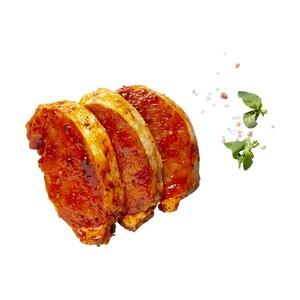 Frische Loinsteaks natur oder mariniert, aus dem Schweinerücken mit Kette,   je 1 kg