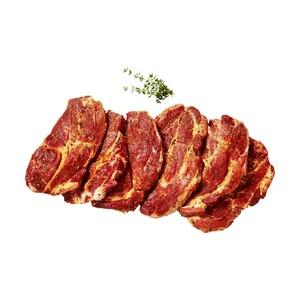 Frische XXL Nackensteakplatte vom Schwein, grill- und bratfertig zubereitet,  je 1 kg