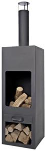 Feuerstelle Jersey XXL Schwarz - 46 x 46 x 199 cm