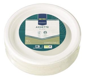 METRO Professional Einwegteller wasserdicht Weiß rund Ø 23 cm - 50 Stück