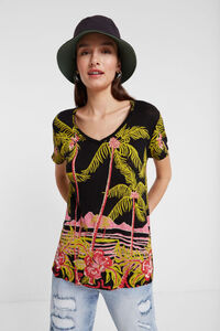Leinen-T-Shirt im hawaiianischen Design