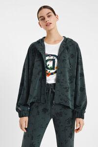 Geblümter Sweater mit Kapuze