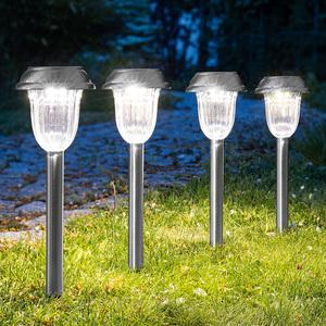 Duracell Edelstahl-Solar-LED-Gartenleuchten, 4er Set