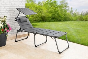 Solax-Sunshine XXL Alu-Komfort-Sonnenliege gepolstert/schwarz