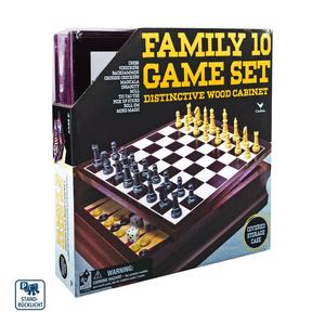 Spielesammlung in Holzschatulle ab 6 Jahren • Schach • Dame • Backgammon • Halma • Kalaha • Mühle • Tic-Tac-Toe • Mikado • Wirf die Würfel • Solitaire