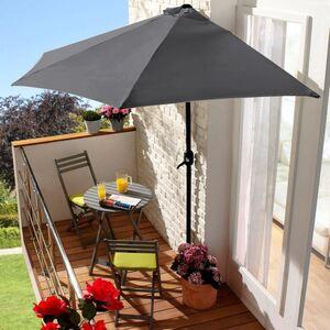 Wand-Sonnenschirm 270x135cm Anthrazit, pulverbeschichtetes Eisengestell, Schirmbespannung aus 100% Polyester, Gewicht: ca. 4,5kg
