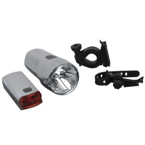 FISCHER Fahrrad Batterie LED Beleuchtungs Set 30 / 15 Lux