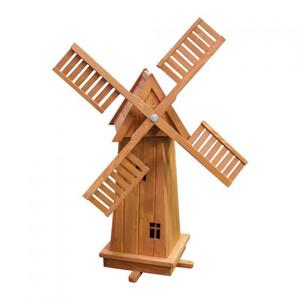 Windmühle Holz 39x39x76cm 4eckig Dekowindmühle Zierwindmühle Holzwindmühle
