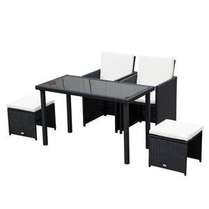 Outsunny Polyrattan Sitzgruppe als 11-teiliges Set schwarz/cremeweiß
