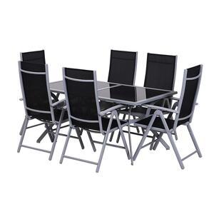 Outsunny Gartensitzgruppe mit 6 Stühlen schwarz/silber