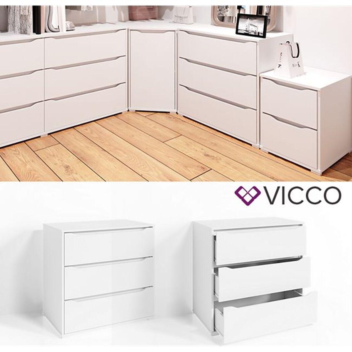 Bild 1 von VICCO Kommode RUBEN Weiß 3 Schubladen 80cm Sideboard Mehrzweckschrank Schrank