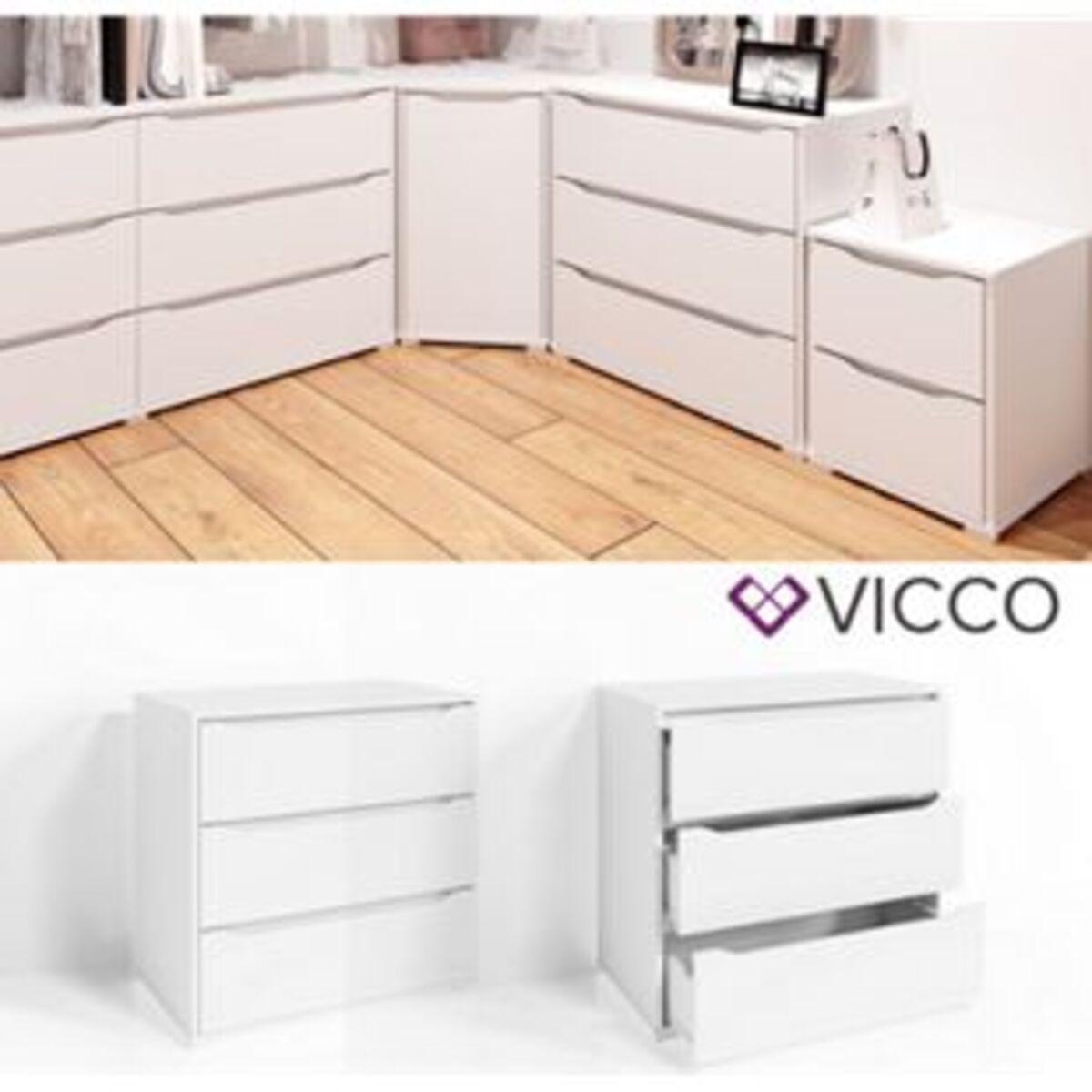 Bild 2 von VICCO Kommode RUBEN Weiß 3 Schubladen 80cm Sideboard Mehrzweckschrank Schrank