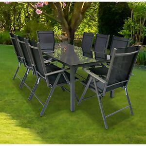 VCM Alu Sitzgruppe 190x80 Schwarzglas Gartenmöbel Gartengarnitur Tisch Stuhl Essgruppe Gartenset