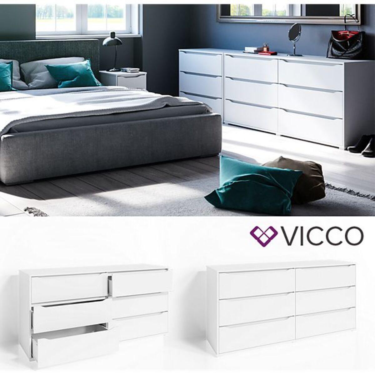 Bild 1 von VICCO Kommode RUBEN Weiß 6 Schubladen 160 cm Sideboard Mehrzweckschrank Schrank