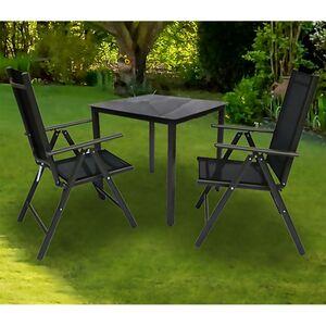 VCM Alu Sitzgruppe 80x80 Schwarzglas Gartenmöbel Gartengarnitur Tisch Stuhl Essgruppe Gartenset
