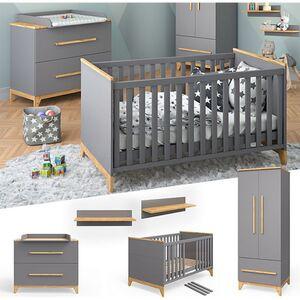 VITALISPA Babymöbel Set MALIA in anthrazit und Naturholz 5 Teile