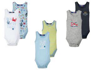 LUPILU® Baby Body Jungen, 2 Stück, mit Knöpfung im Schritt, Einfassband, mit Baumwolle