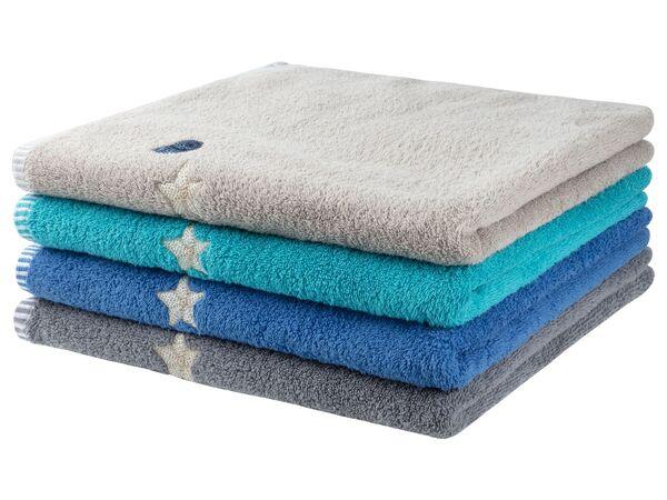 MERADISO® Duschtuch, 70 x 140 cm, maritime Stickerei, aus reiner Baumwolle