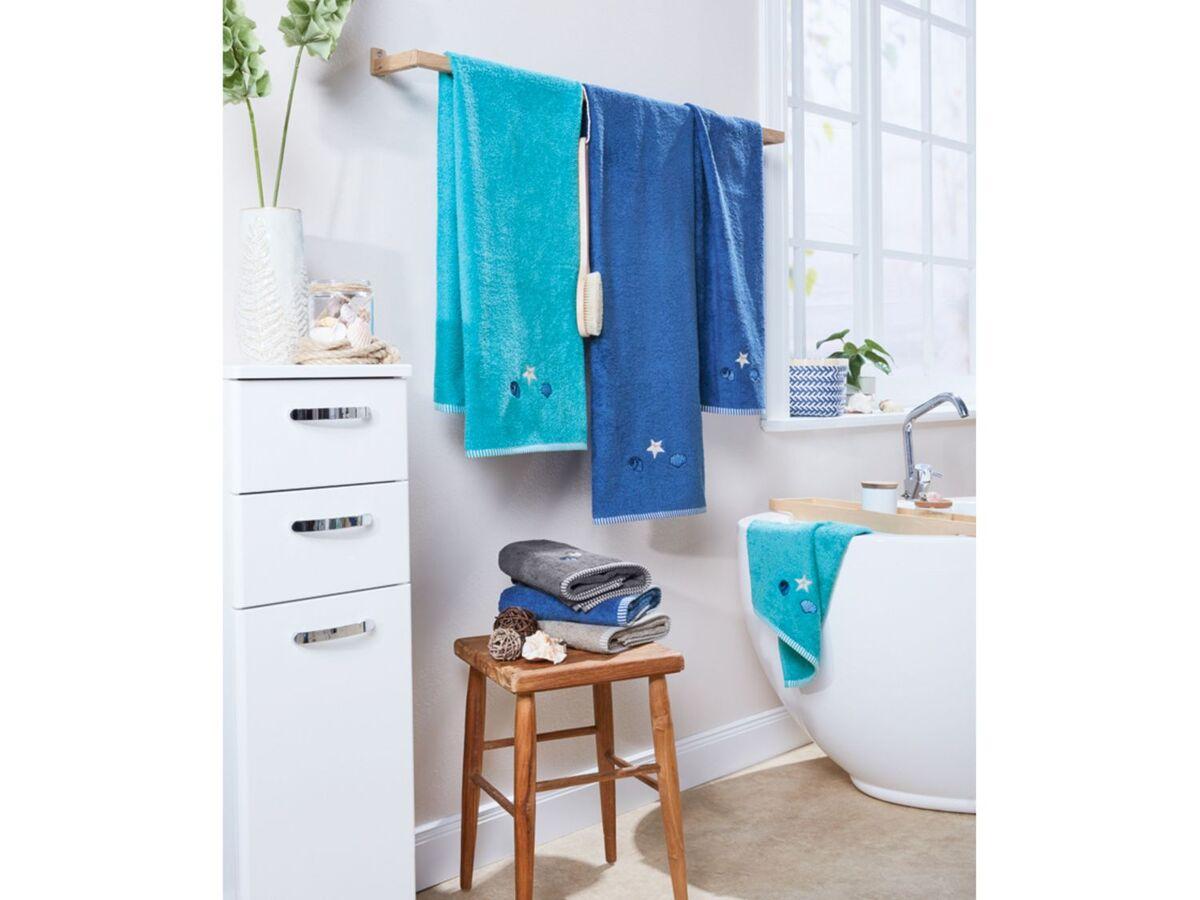 Bild 4 von MERADISO® Duschtuch, 70 x 140 cm, maritime Stickerei, aus reiner Baumwolle