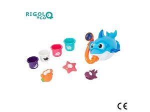 Badabulle Badeset »Rigolo & Co«, 8-teilig, schwimmender Hai, Spritztiere, Becher